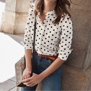 Boden Virginie Ruffle Shirt White Black Polka dots